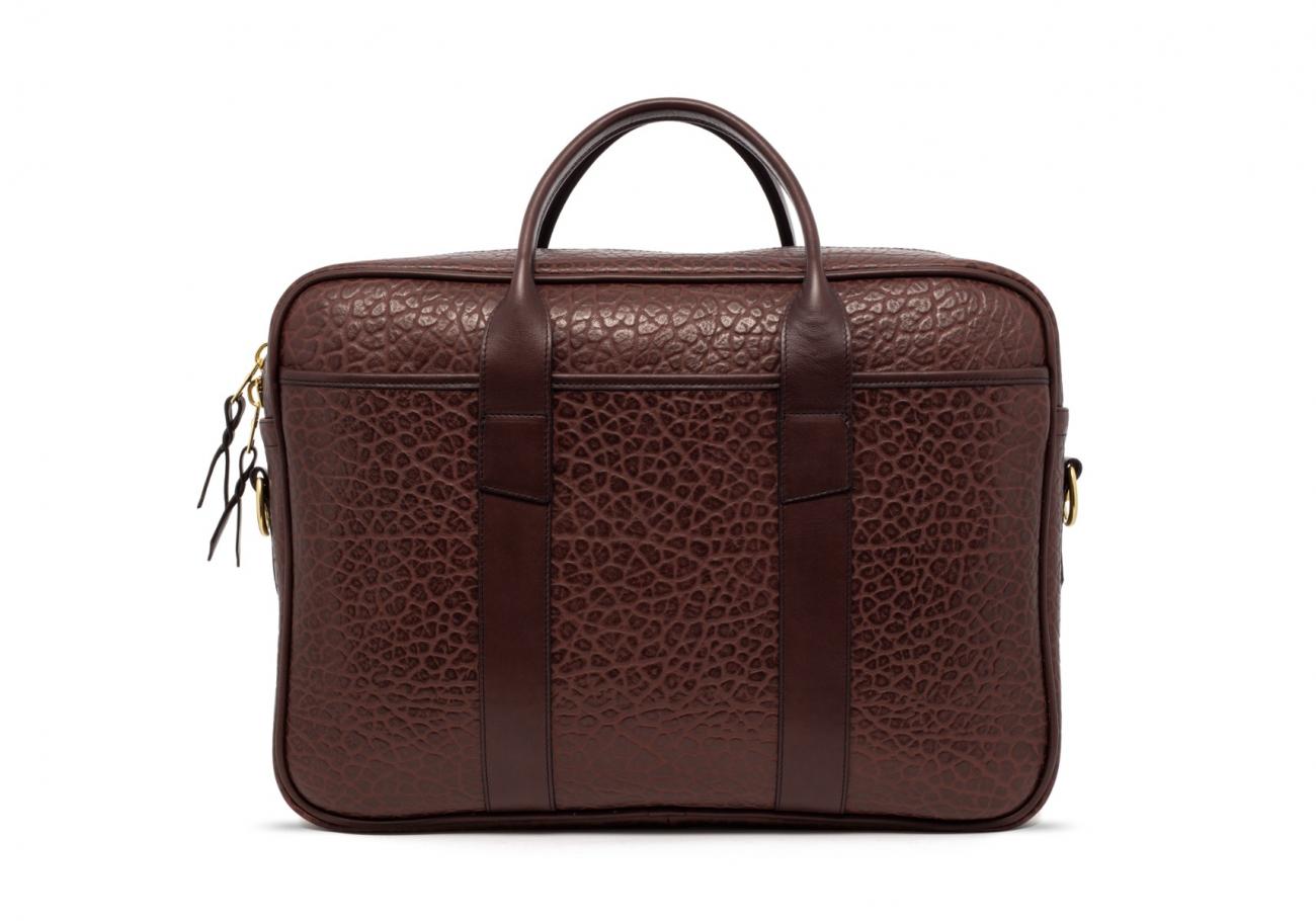 Brown Commuter Leather Briefcase Shrunken Grain1 1