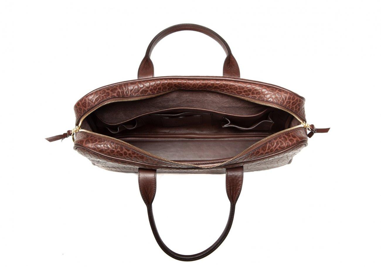 Brown Commuter Leather Briefcase Shrunken Grain2 1
