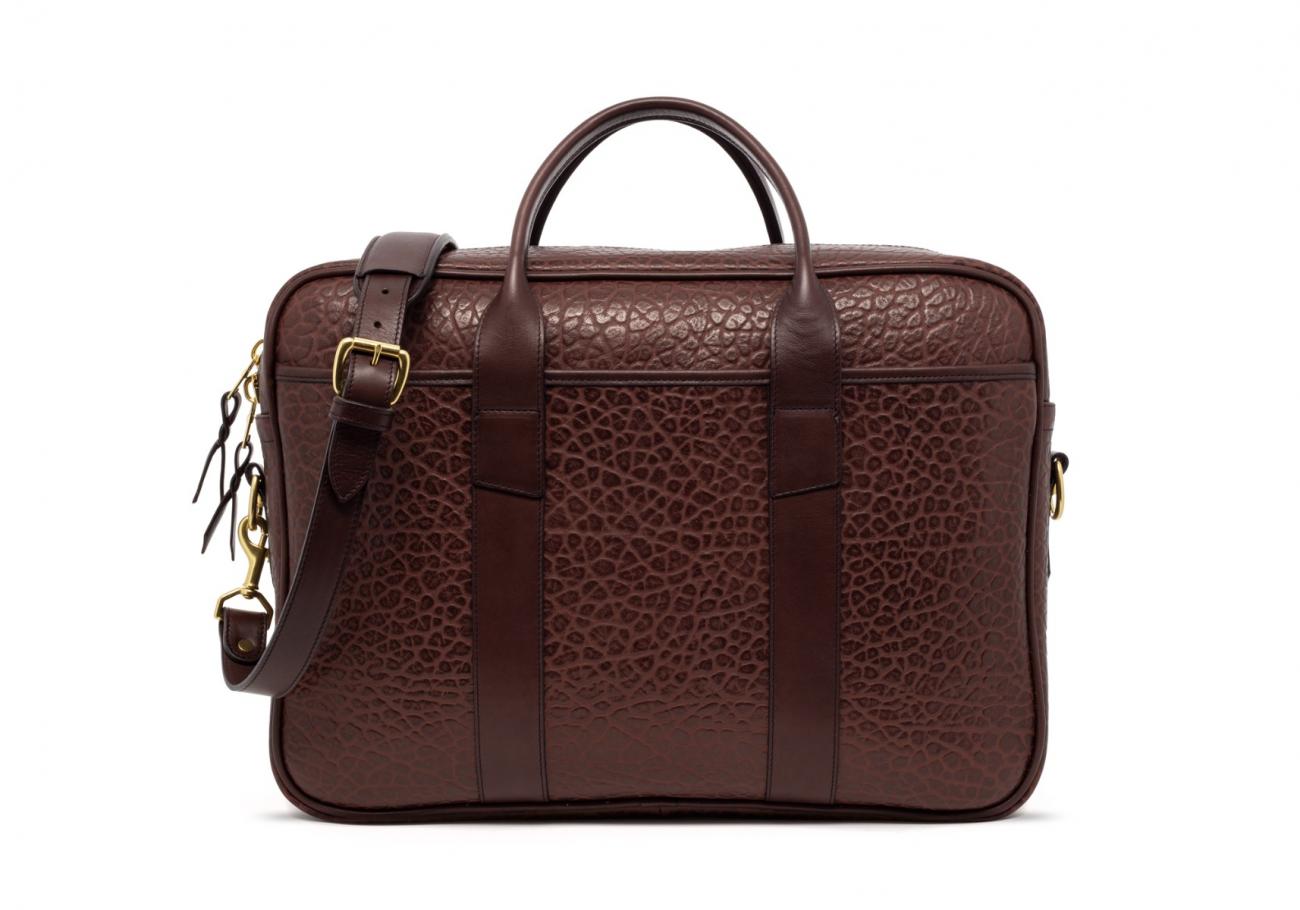 Brown Commuter Leather Briefcase Shrunken Grain3 1