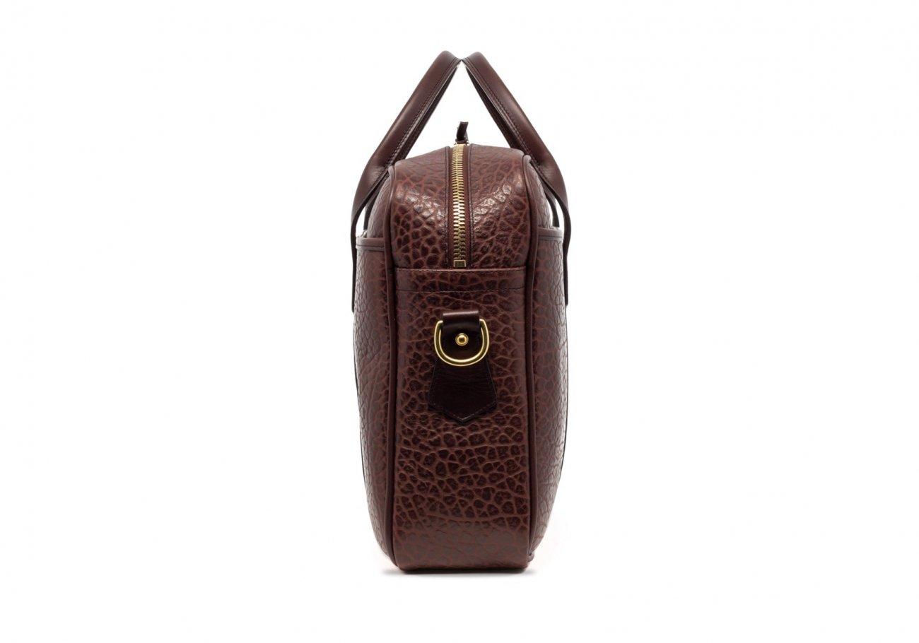 Brown Commuter Leather Briefcase Shrunken Grain4 1
