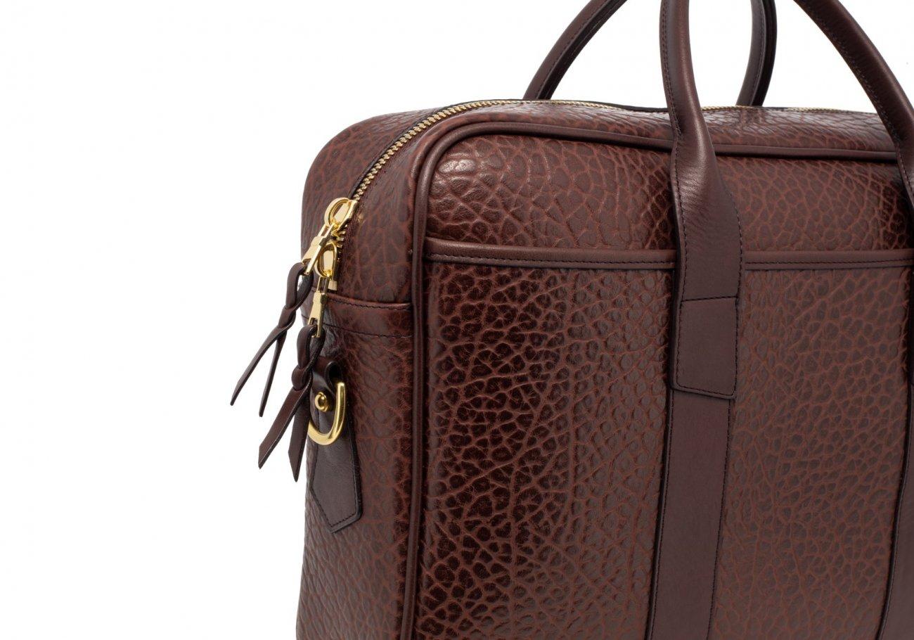 Brown Commuter Leather Briefcase Shrunken Grain5 1