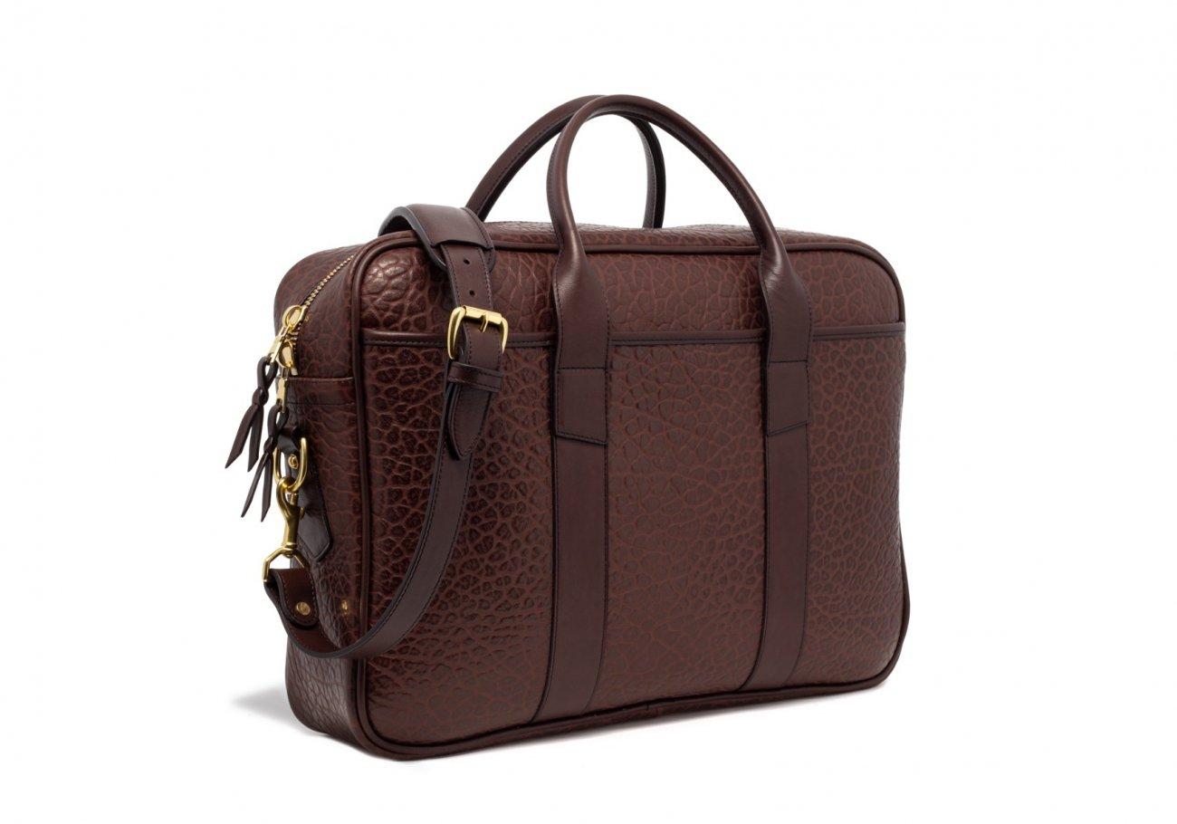 Brown Commuter Leather Briefcase Shrunken Grain6 1