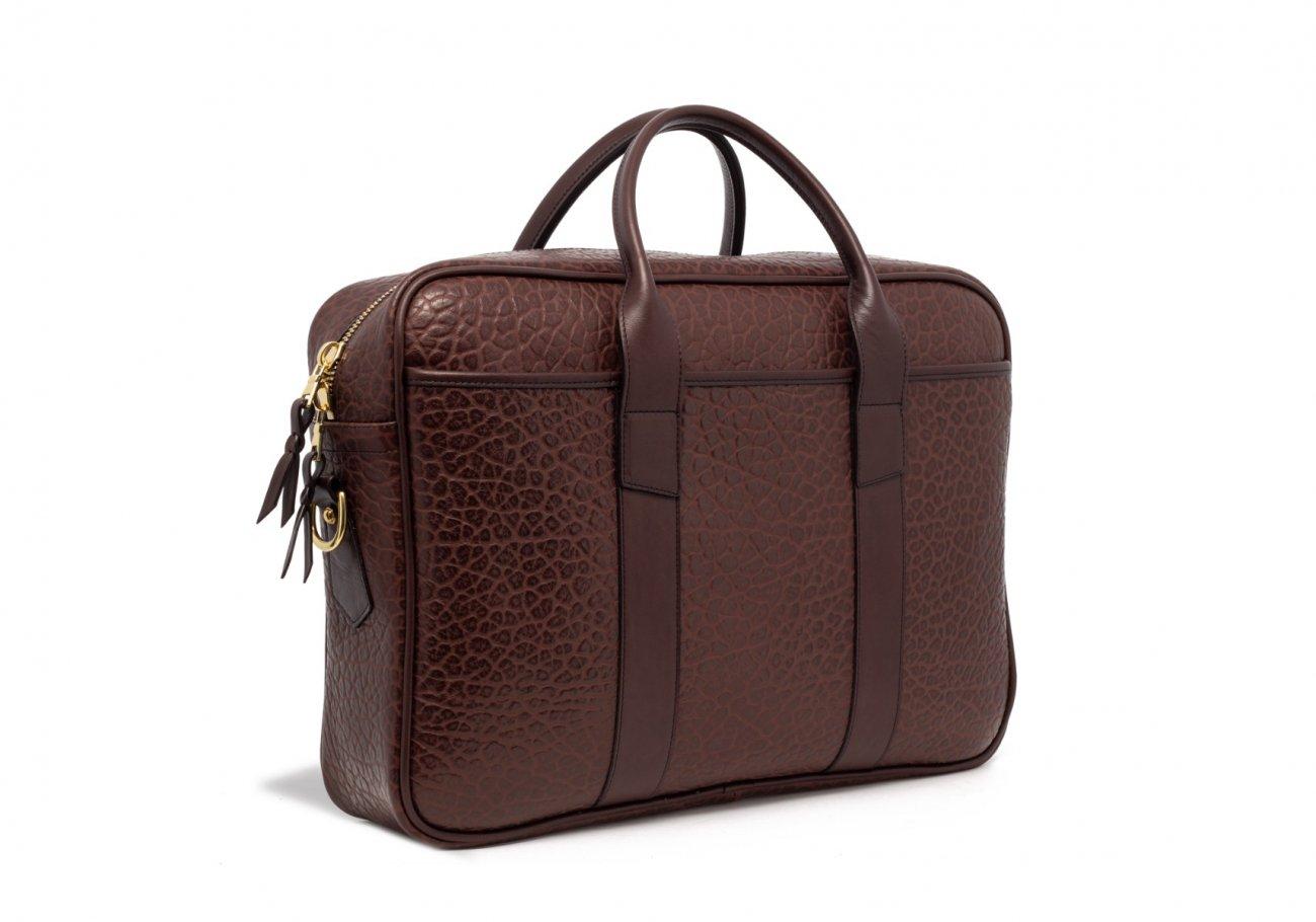 Brown Commuter Leather Briefcase Shrunken Grain7 1