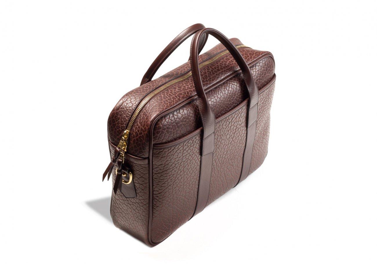 Brown Commuter Leather Briefcase Shrunken Grain8 1