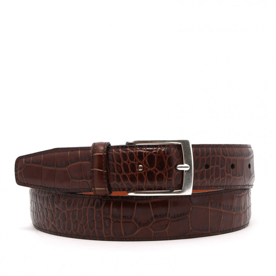 Brown Croco Print Leather Belt Brass Buckle