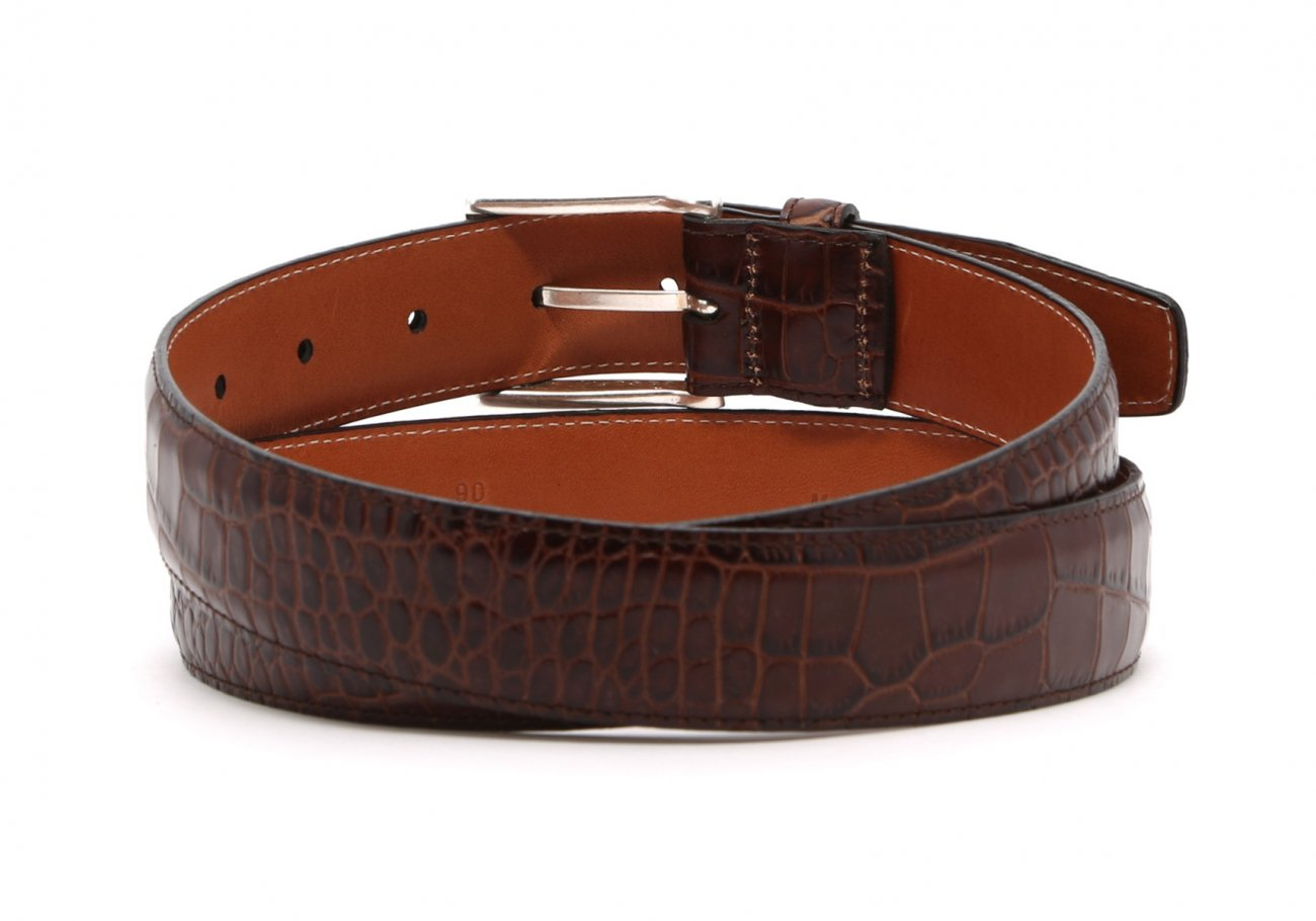 Brown Croco Print Leather Belt Brass Buckle1 3