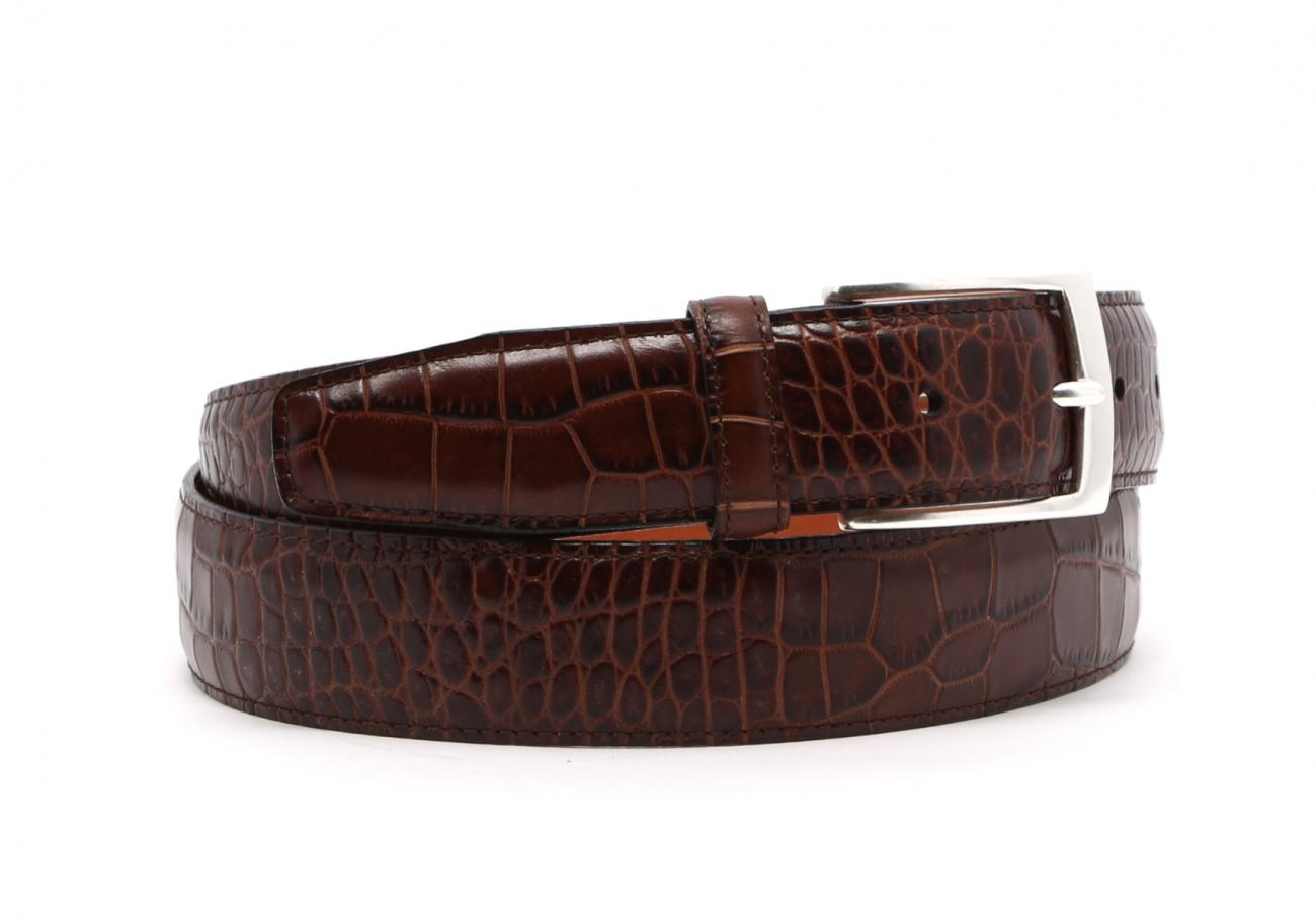 Brown Croco Print Leather Belt Brass Buckle2 3