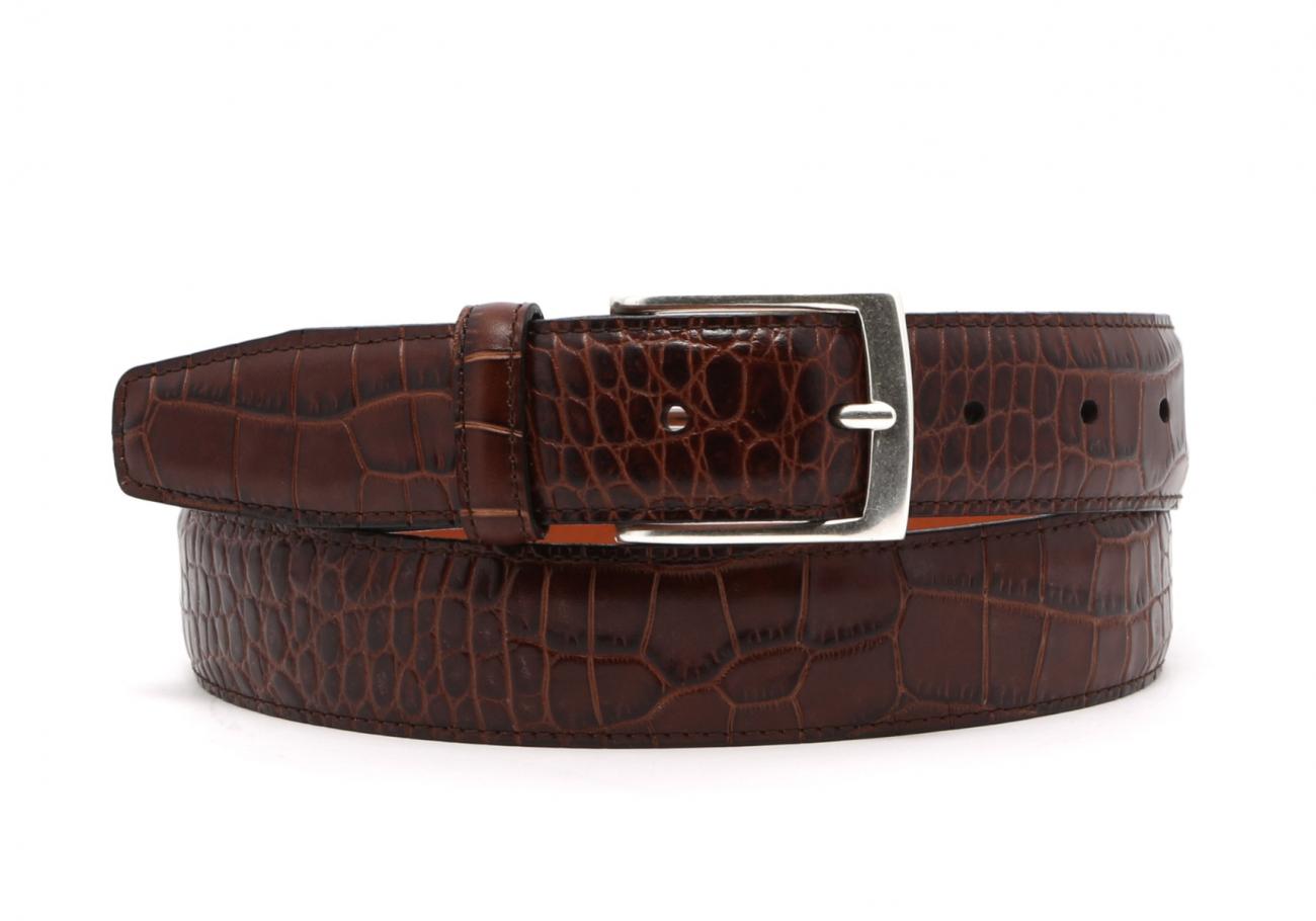 Brown Croco Print Leather Belt Brass Buckle3