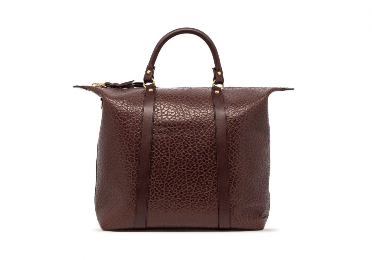 Brown Leather Zipper Tote Bag Shrunken1 1
