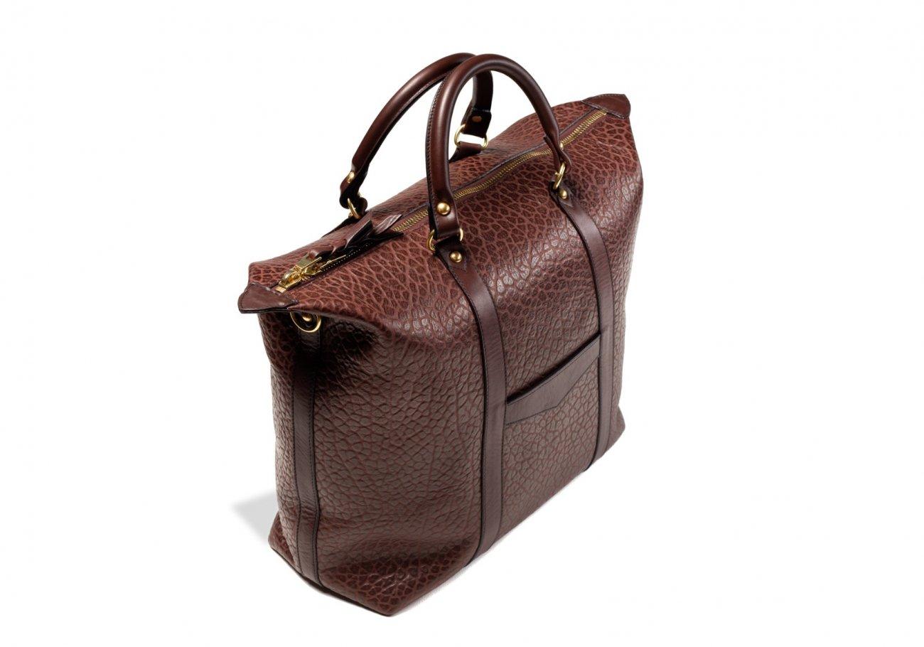 Brown Leather Zipper Tote Bag Shrunken3 1