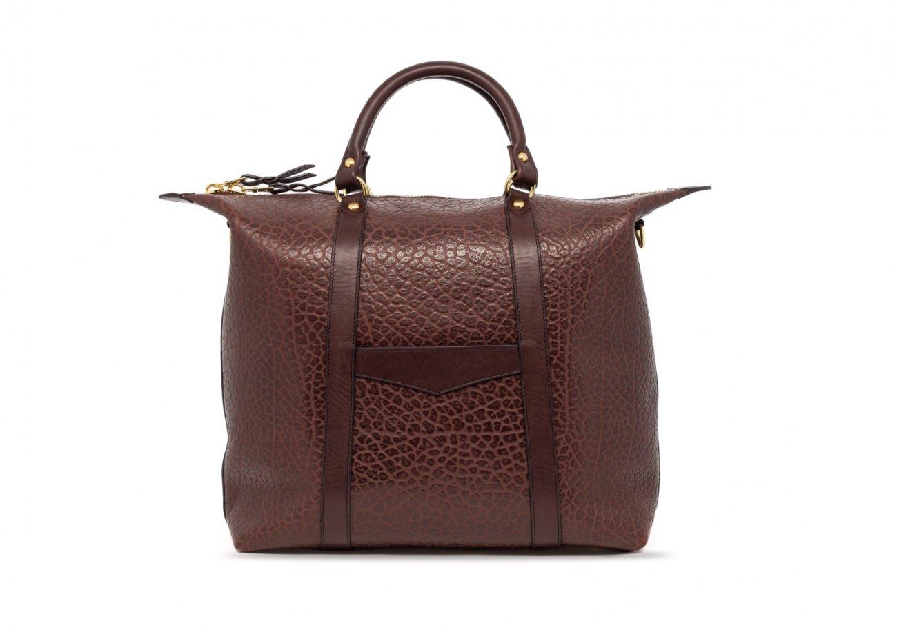 Brown Leather Zipper Tote Bag Shrunken4 1