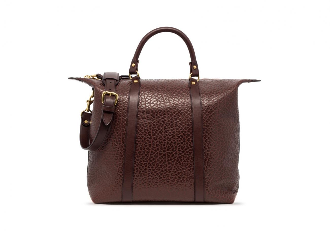 Brown Leather Zipper Tote Bag Shrunken5 1