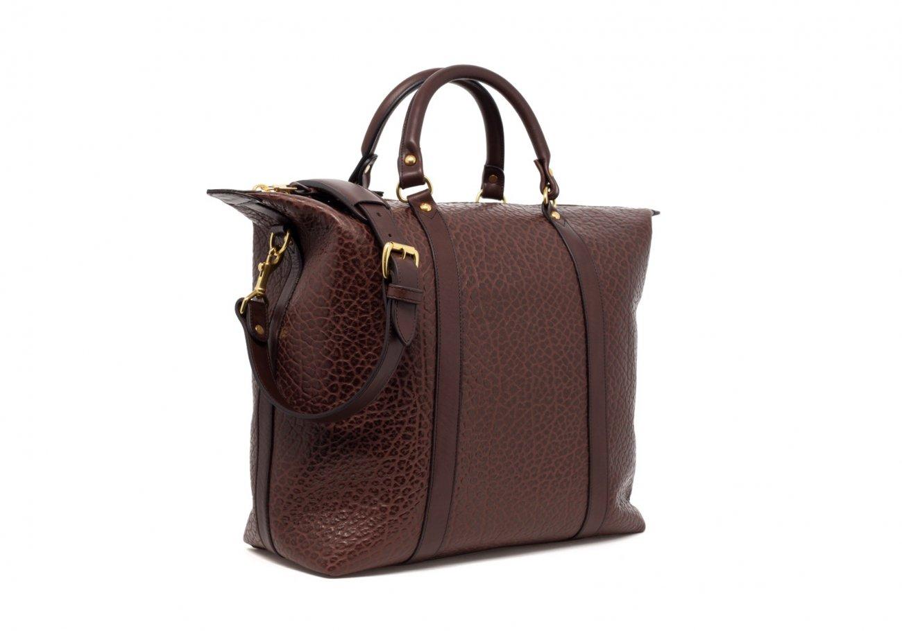 Brown Leather Zipper Tote Bag Shrunken7 1