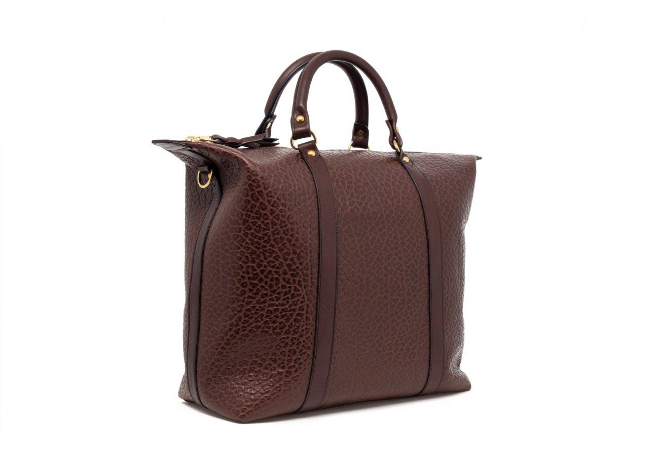 Brown Leather Zipper Tote Bag Shrunken8 1