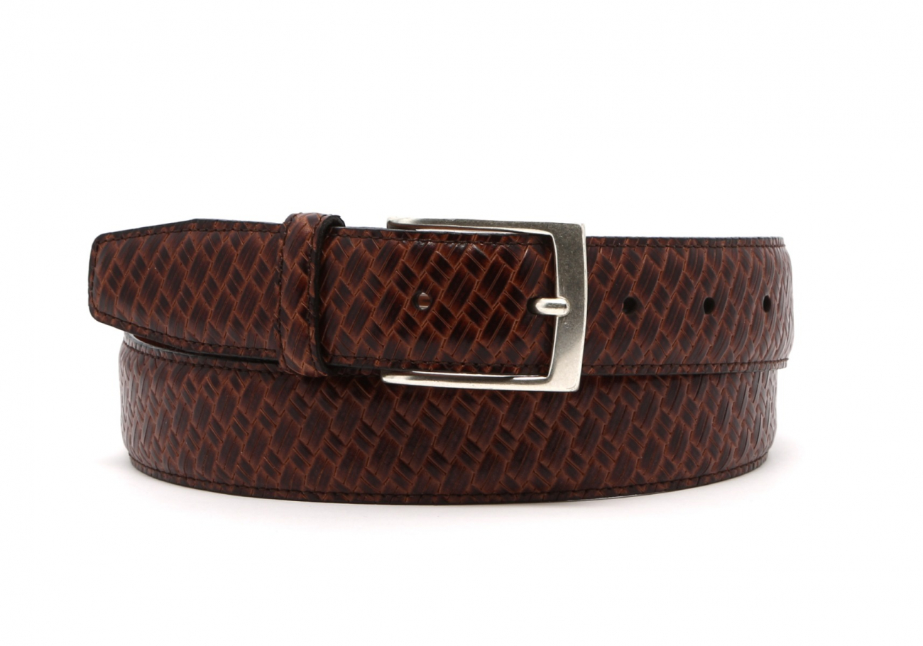 Brown Trezlis Basket Leather Belt1 1 2