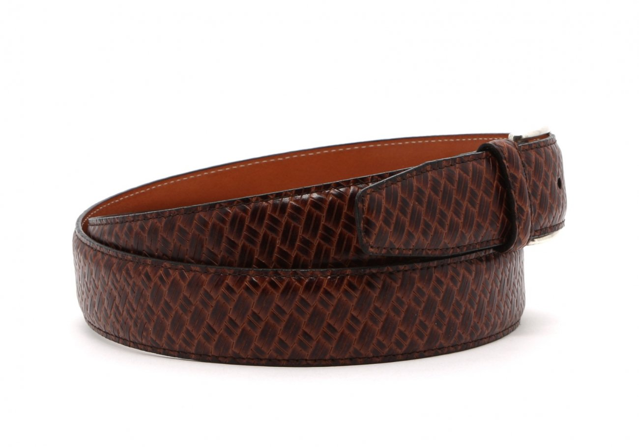 Brown Trezlis Basket Leather Belt3 4 2