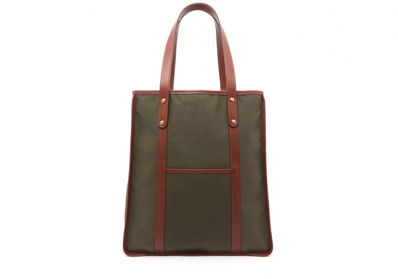 Canvas Market Tote Olive And Brown Frank Clegg 1