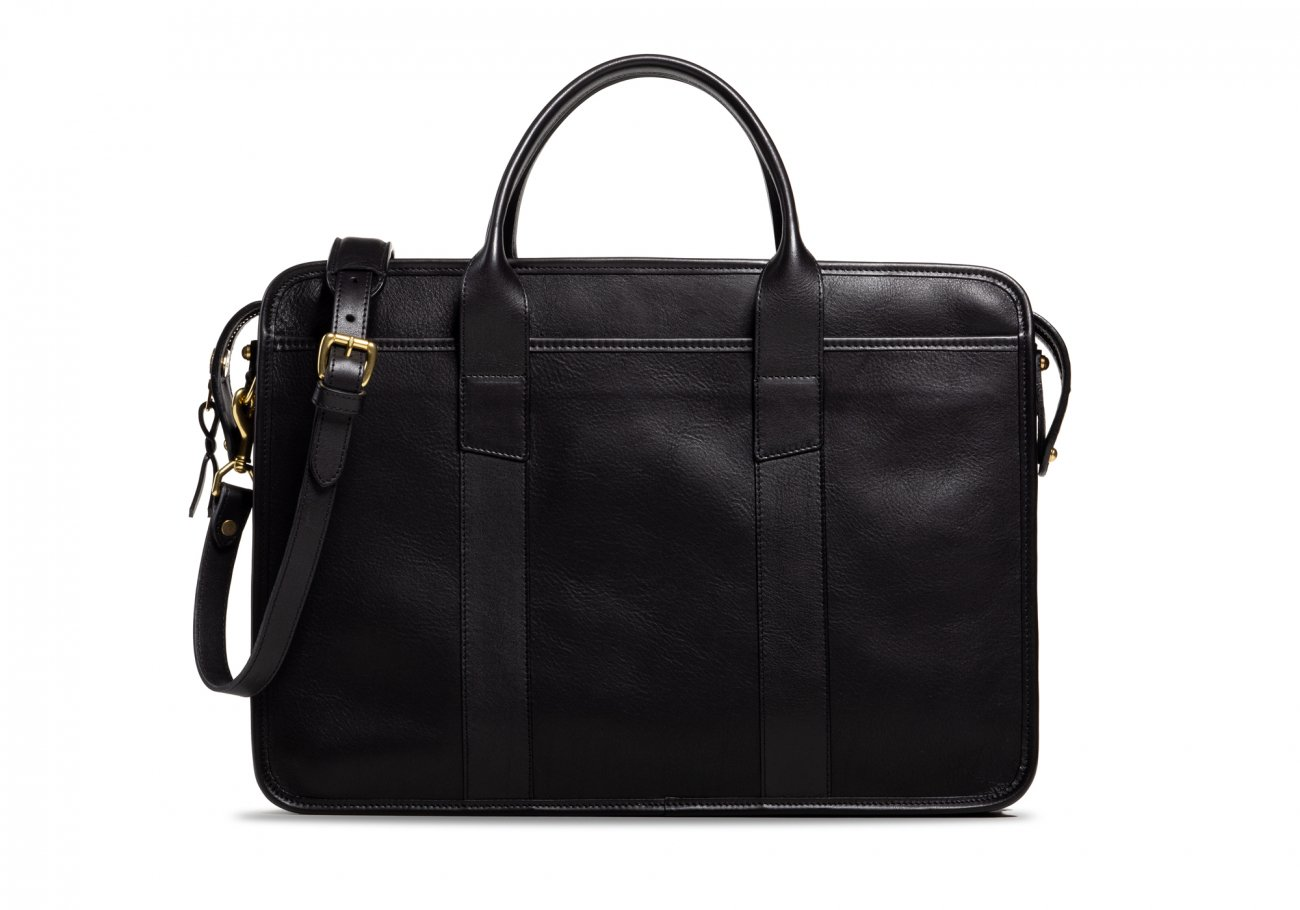 Cause Leather Zip Top Briefcase Black2