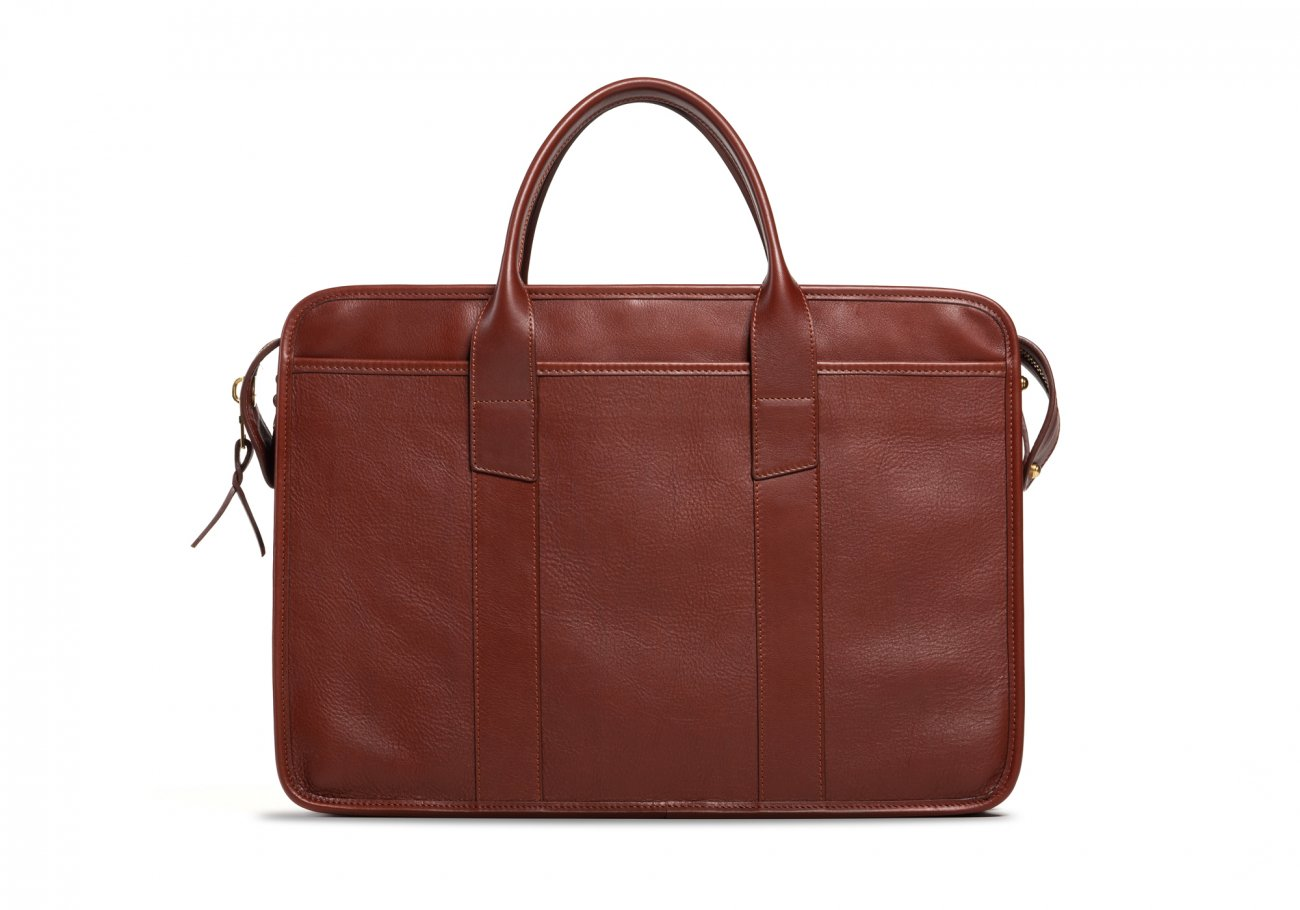 Cause Leather Zip Top Briefcase Chestnut1