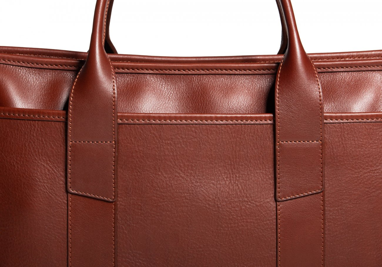 Cause Leather Zip Top Briefcase Chestnut10