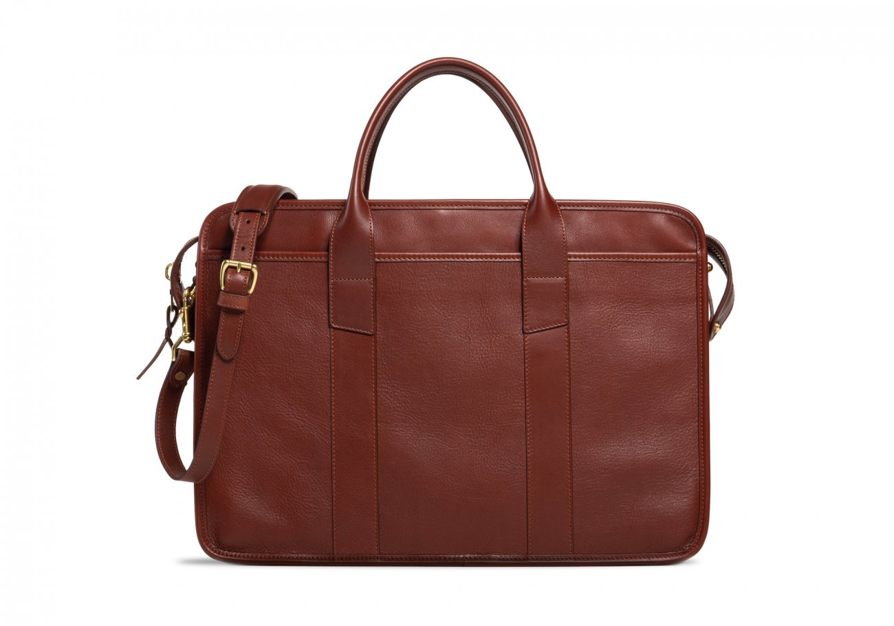 Cause Leather Zip Top Briefcase Chestnut4