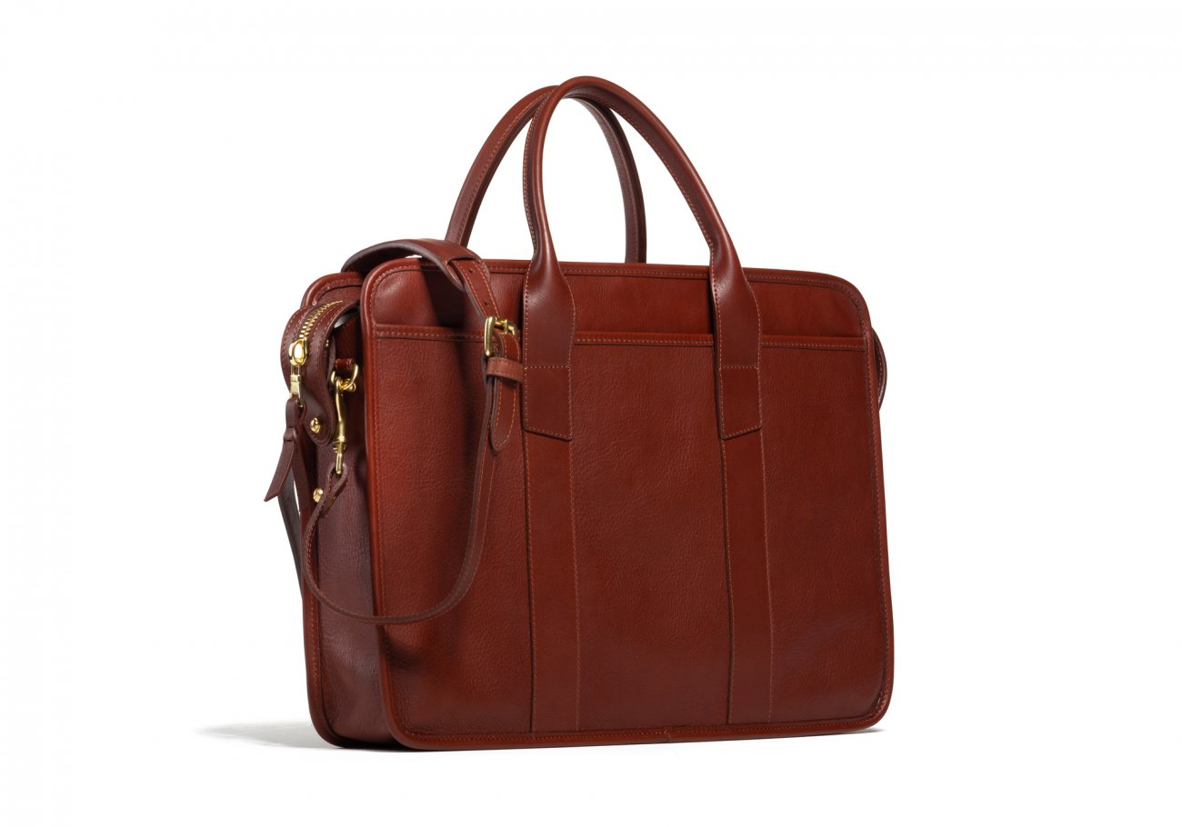 Cause Leather Zip Top Briefcase Chestnut5