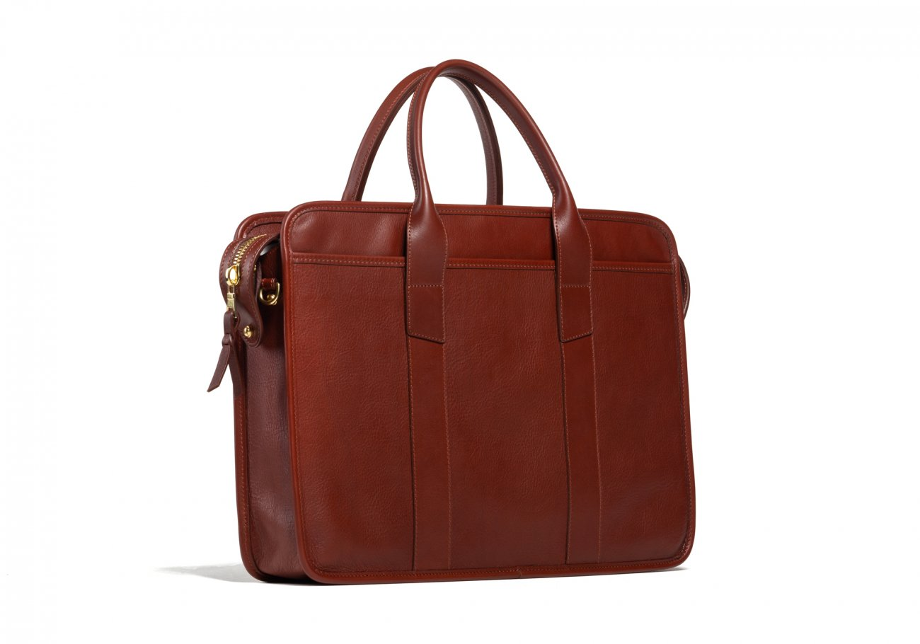 Cause Leather Zip Top Briefcase Chestnut6