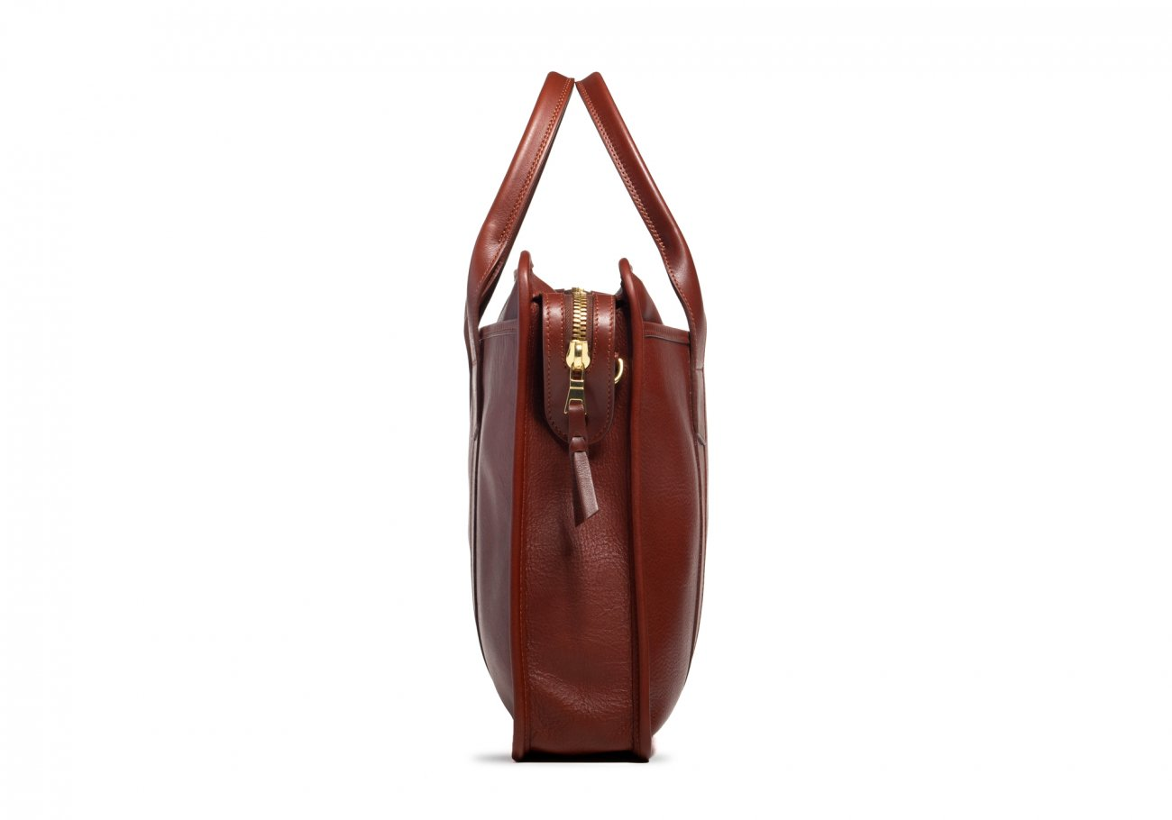 Cause Leather Zip Top Briefcase Chestnut7