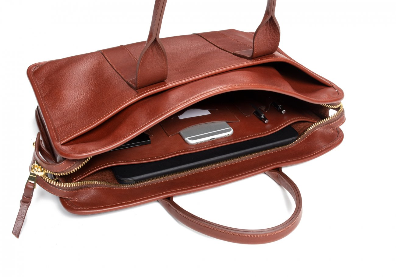 Cause Leather Zip Top Briefcase Chestnut9