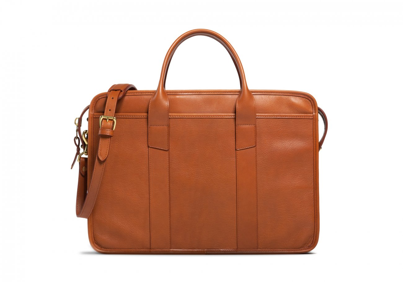 Cause Leather Zip Top Briefcase Cognac2