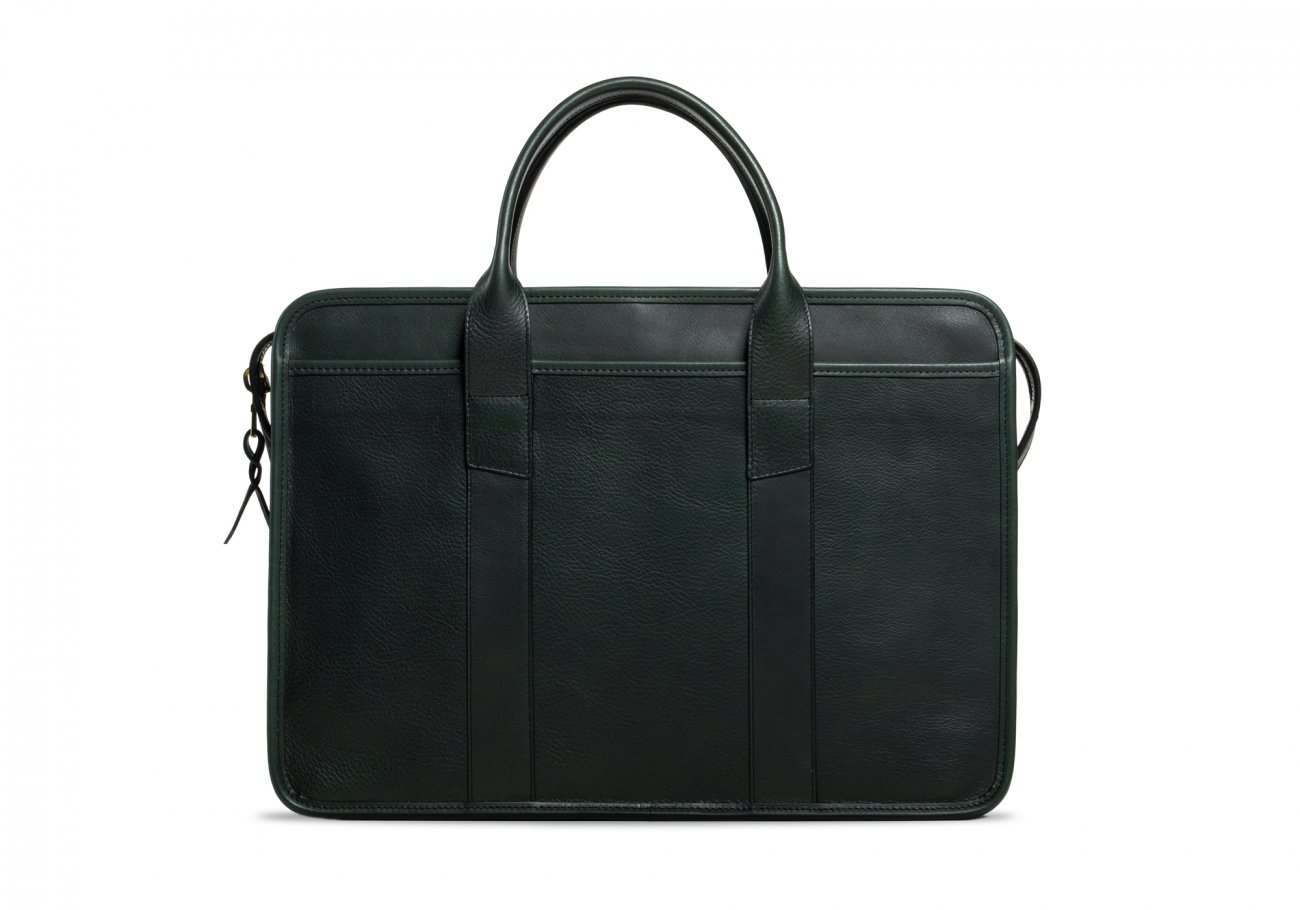 Cause Leather Zip Top Briefcase Green1
