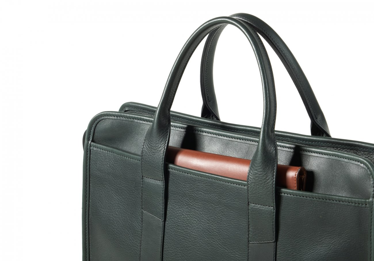 Cause Leather Zip Top Briefcase Green10