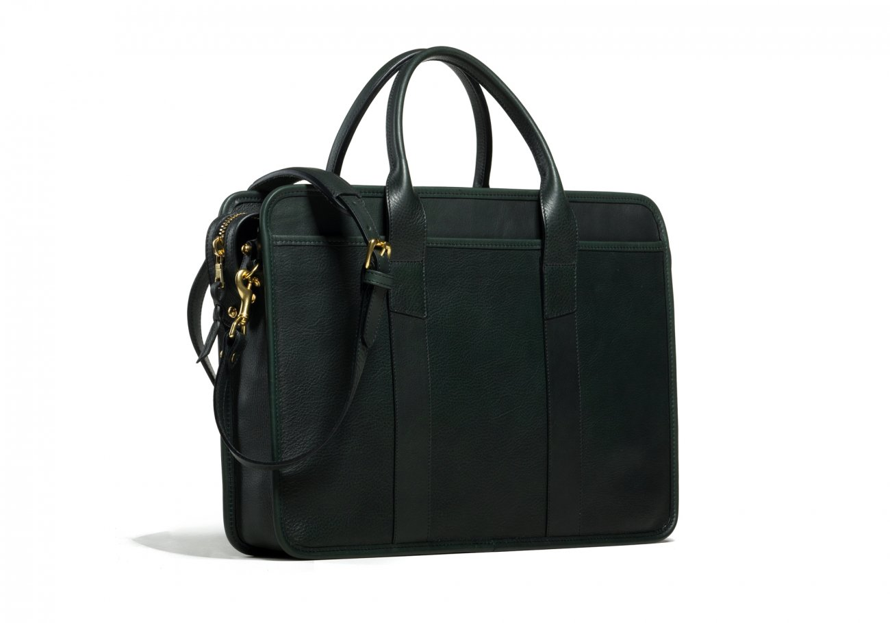 Cause Leather Zip Top Briefcase Green3