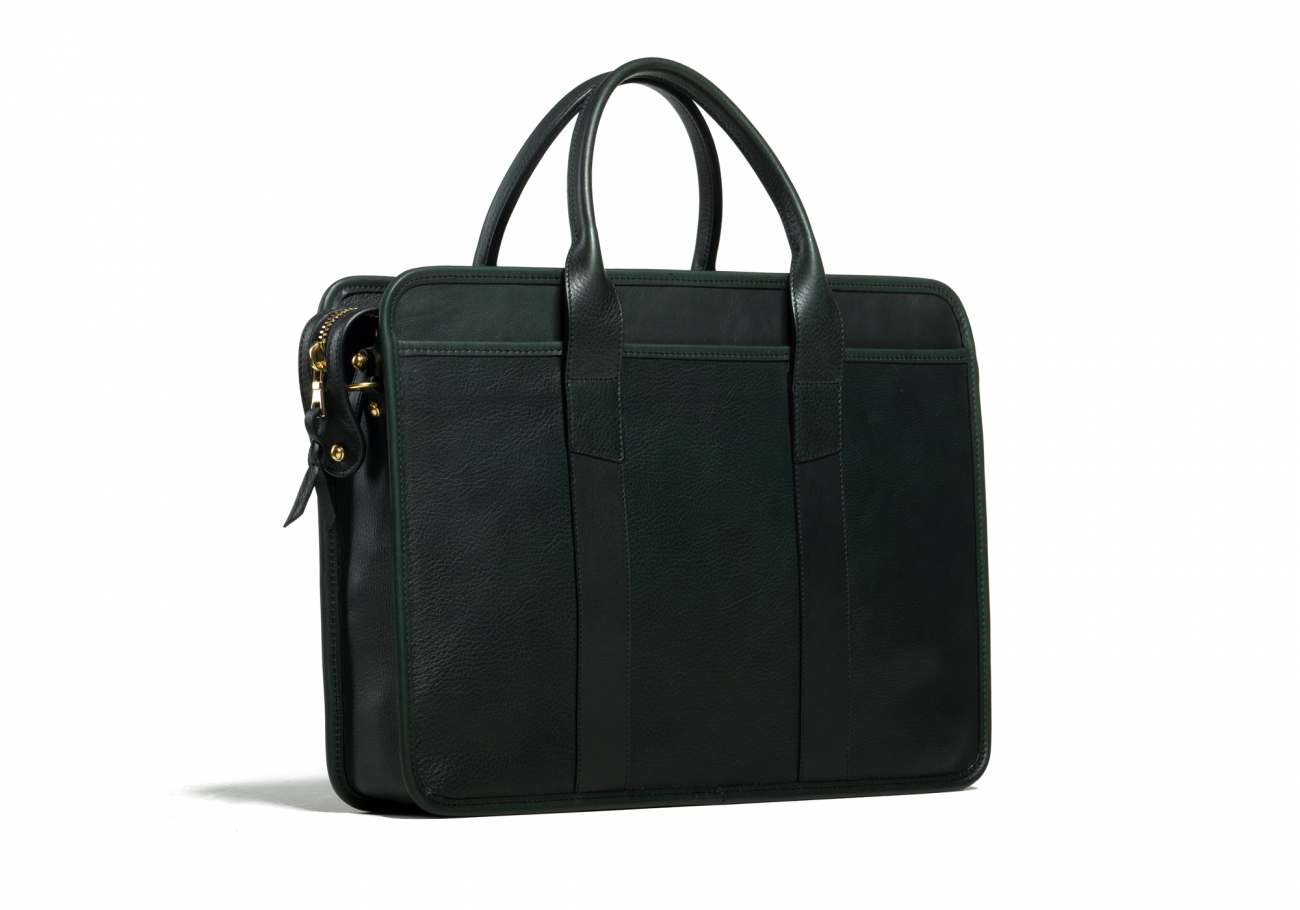 Cause Leather Zip Top Briefcase Green4
