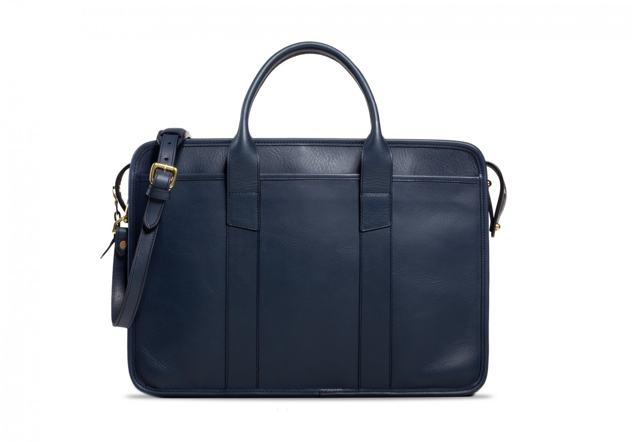 Cause Leather Zip Top Briefcase Navy2