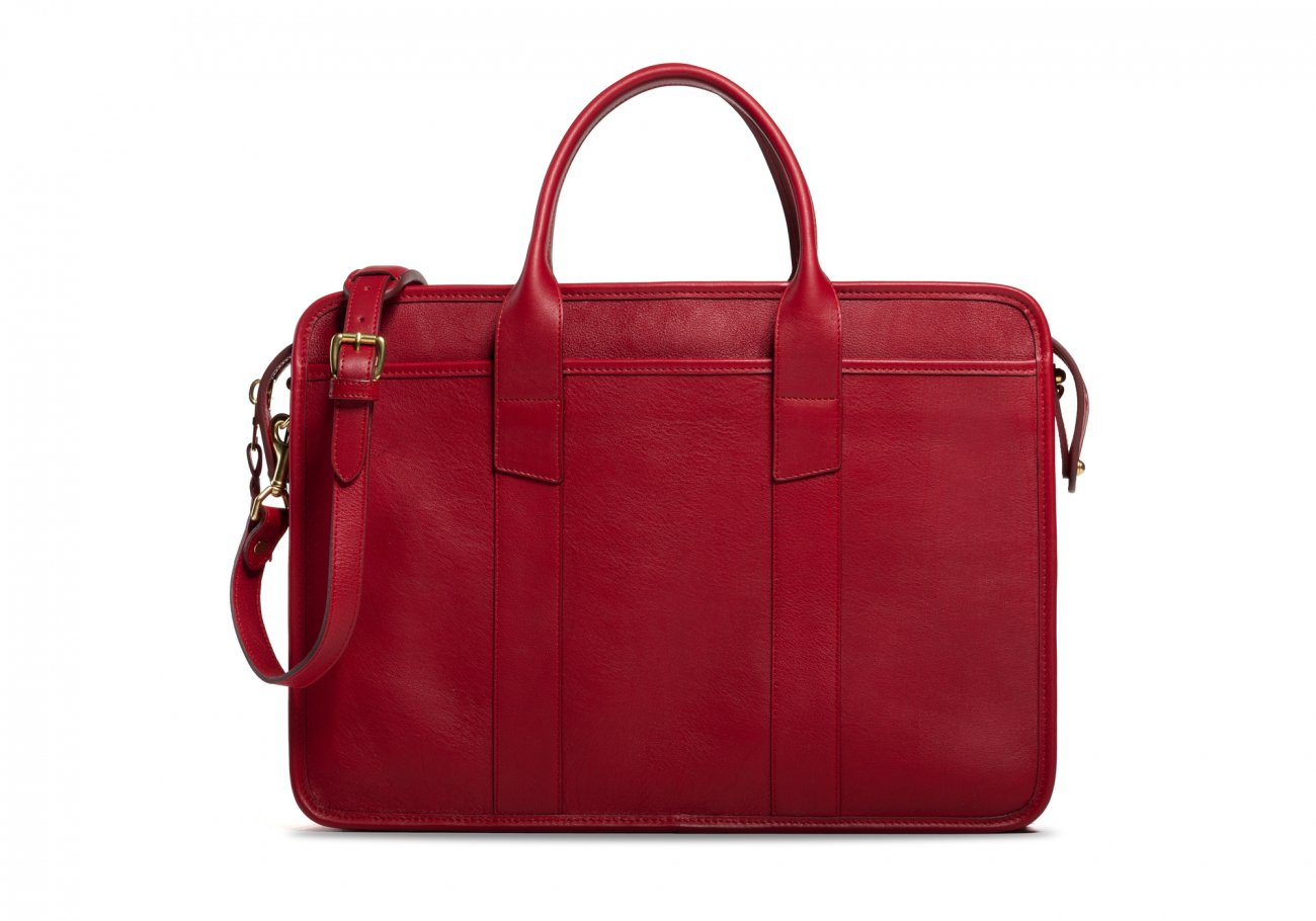 Cause Leather Zip Top Briefcase Red2