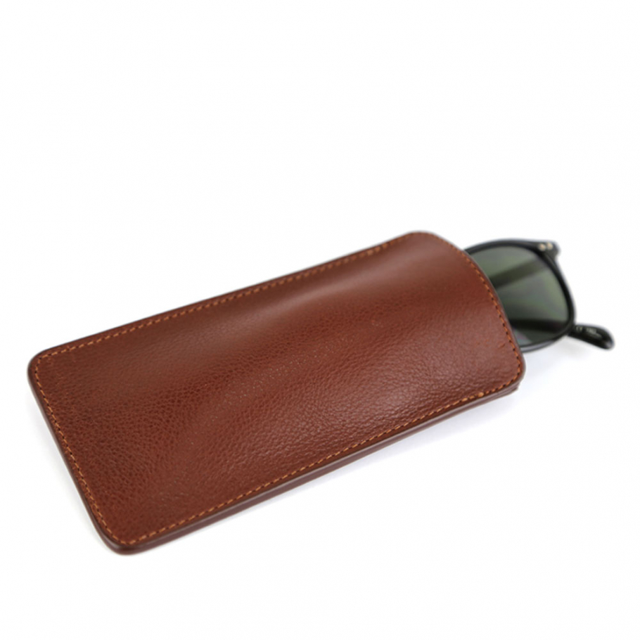 Chesnut Tumbled Leather Eye Glass Case Frank Clegg Made In Usa 1 Raw