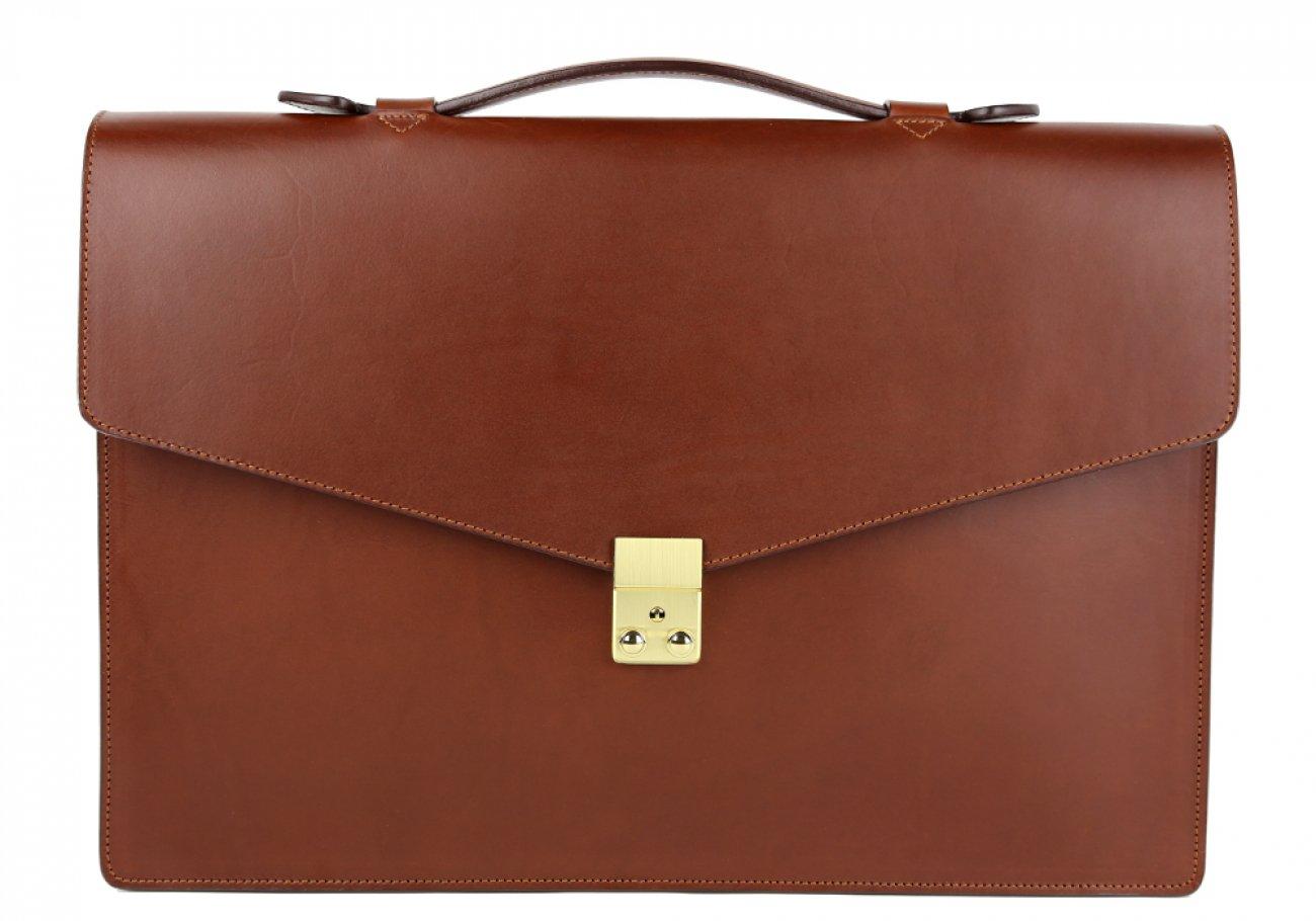 Chestnut Leather Lock Portfolio With Handle 1