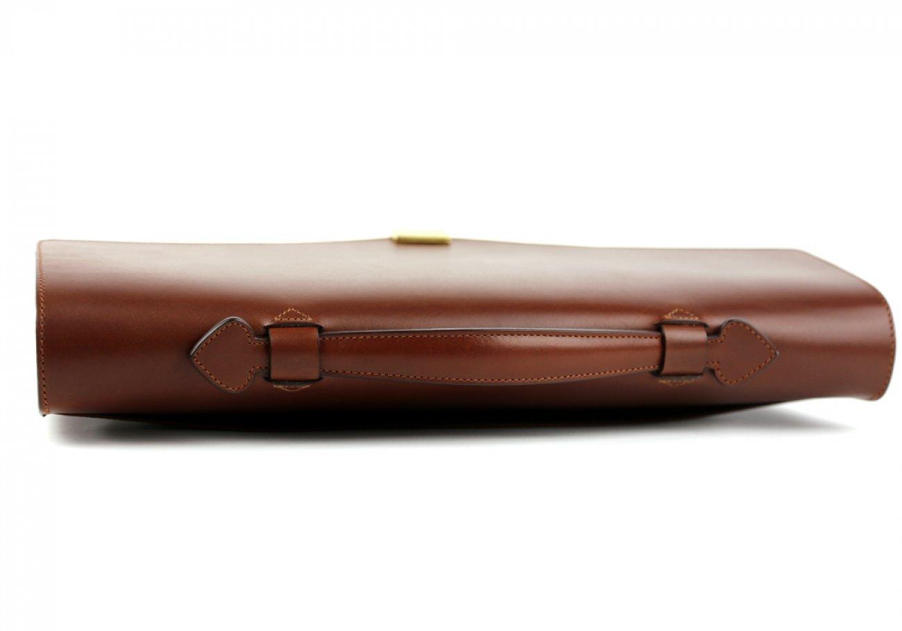 Chestnut Leather Lock Portfolio With Handle 4