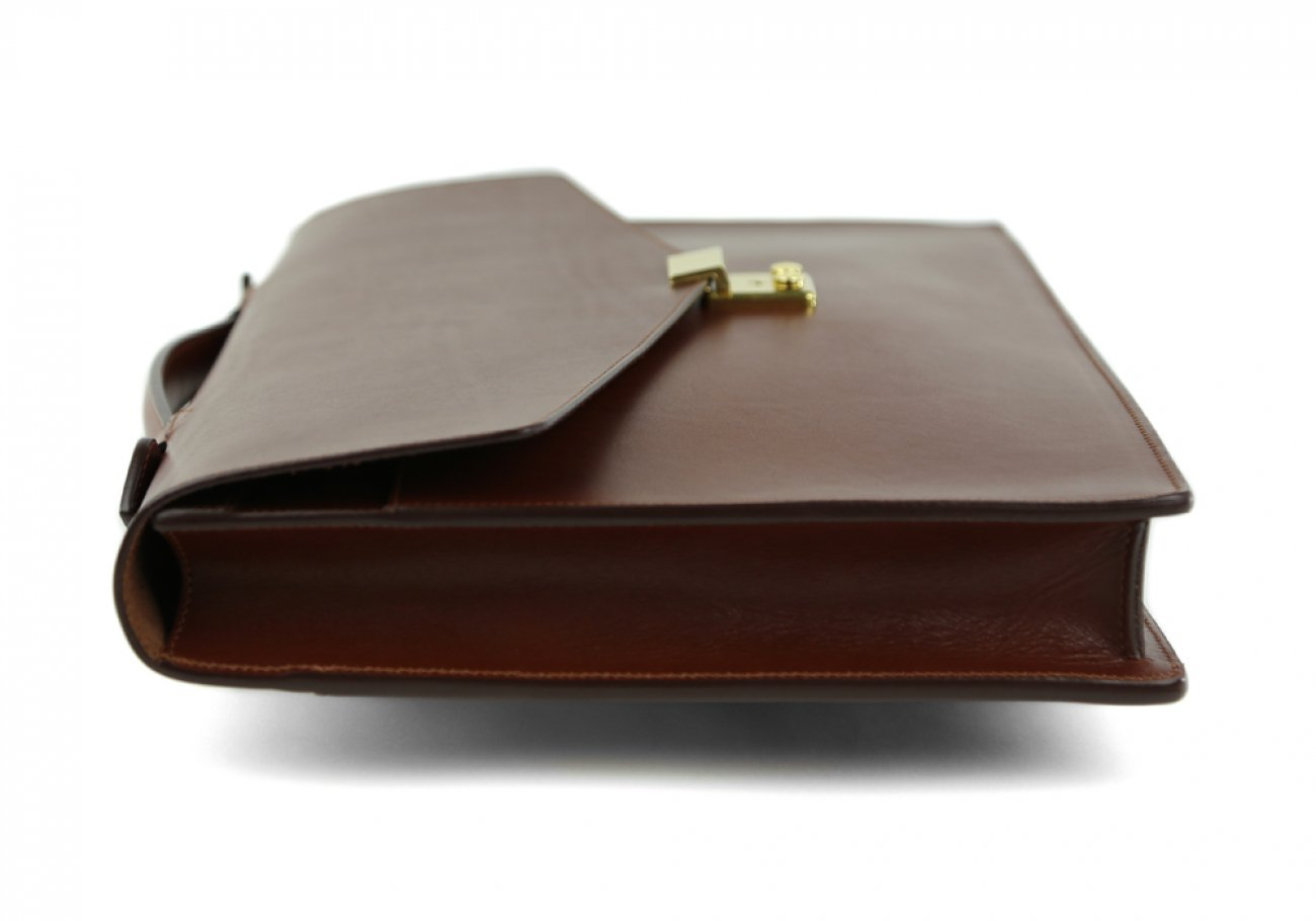 Chestnut Leather Lock Portfolio With Handle 6