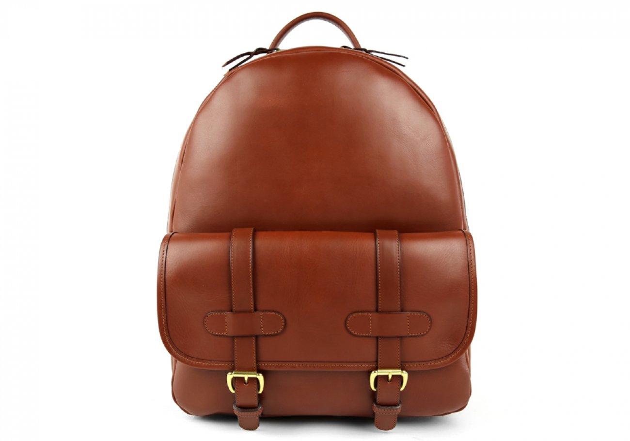 Chestnut Zipper Leather Backpack 1
