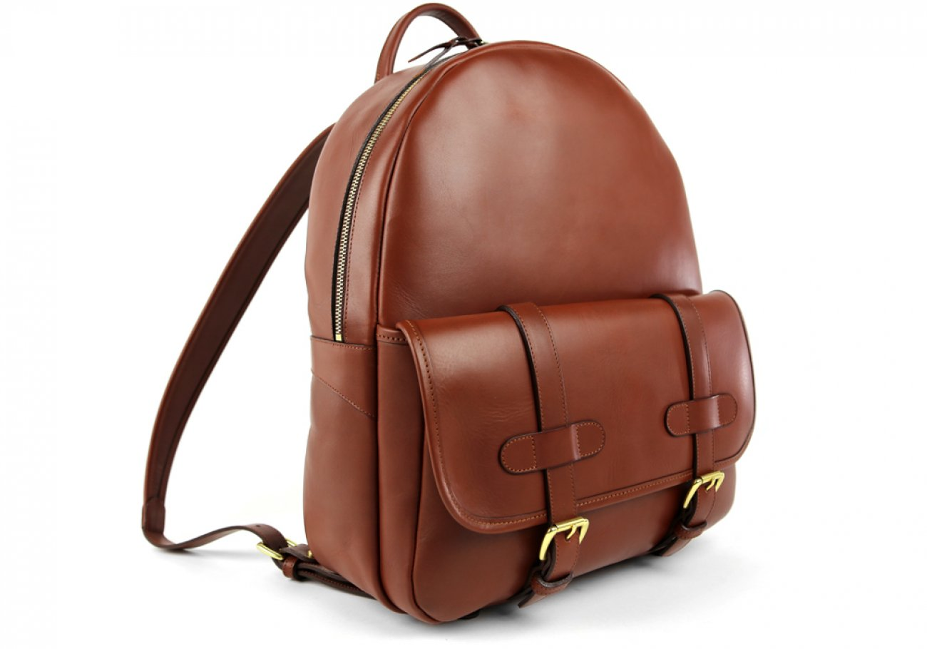 Chestnut Zipper Leather Backpack 2