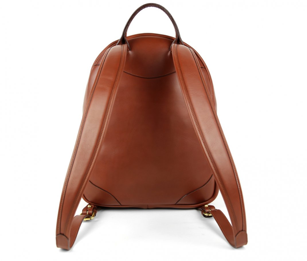 Chestnut Zipper Leather Backpack 4