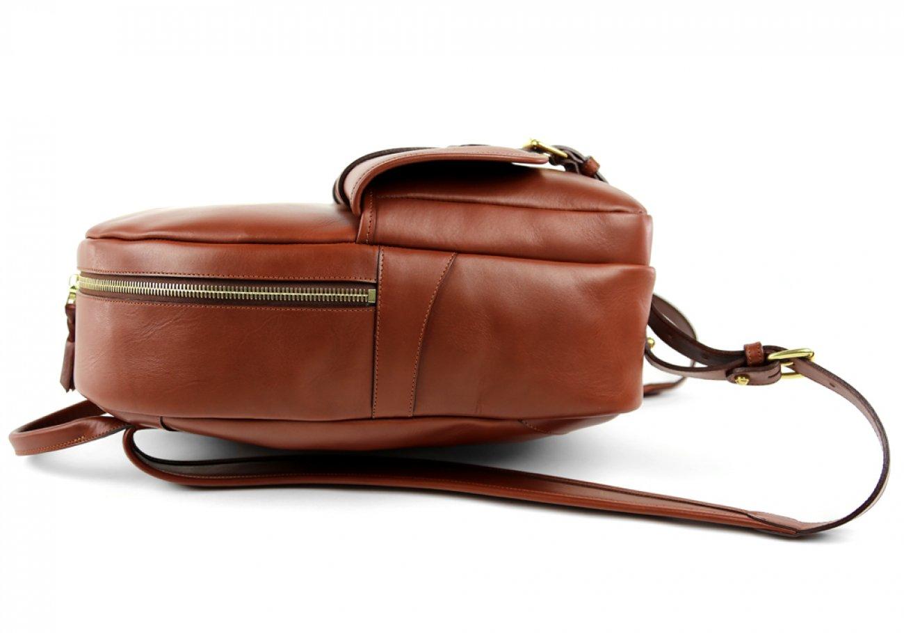 Chestnut Zipper Leather Backpack 5