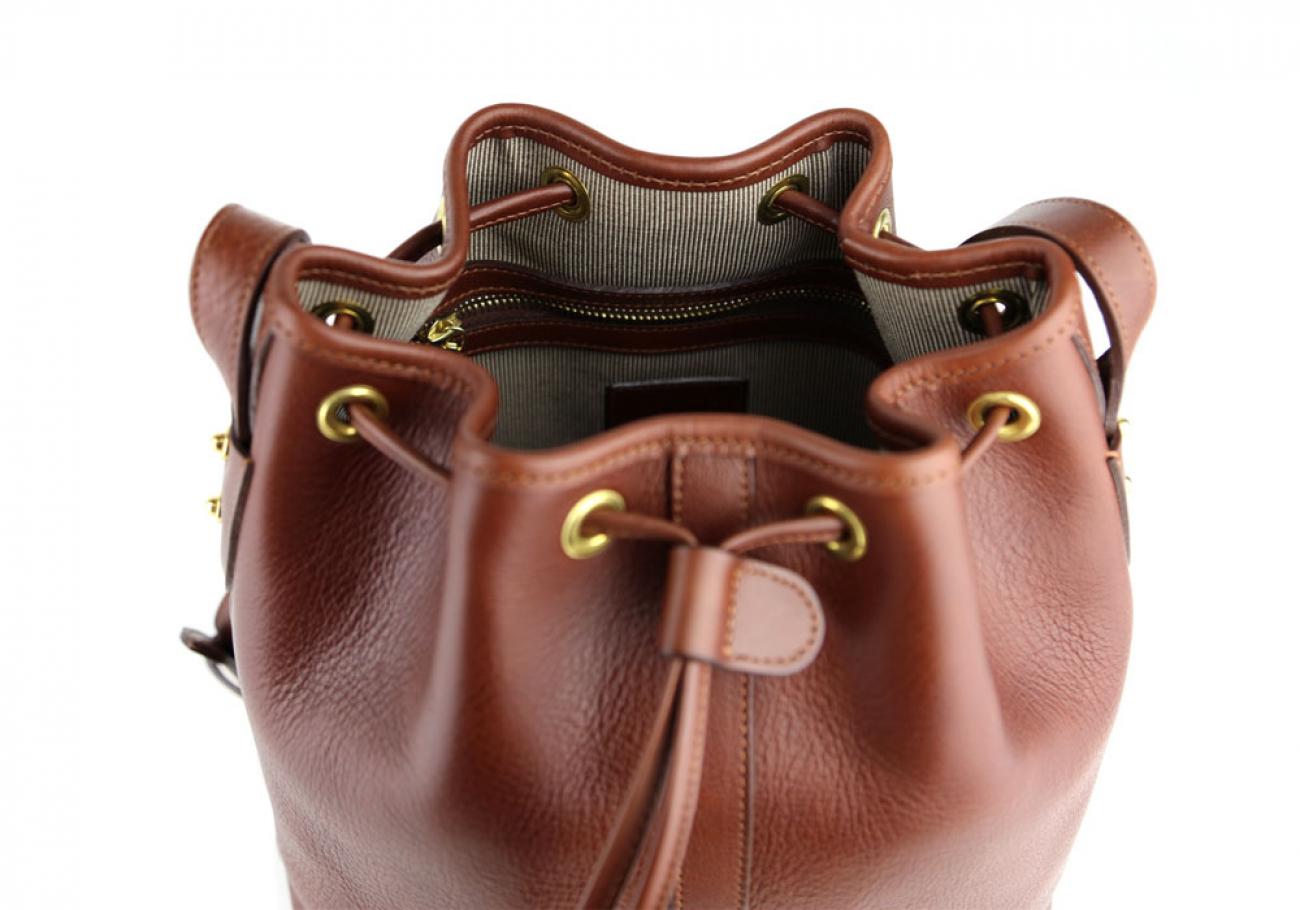 Chestnut Cara Draw String Bag Frank Clegg Made In Usa 7