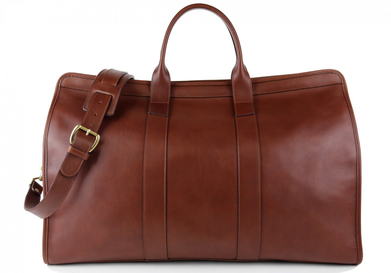Chestnut Compass Leather Duffle Bag Frank Clegg Made In Usa 1 3