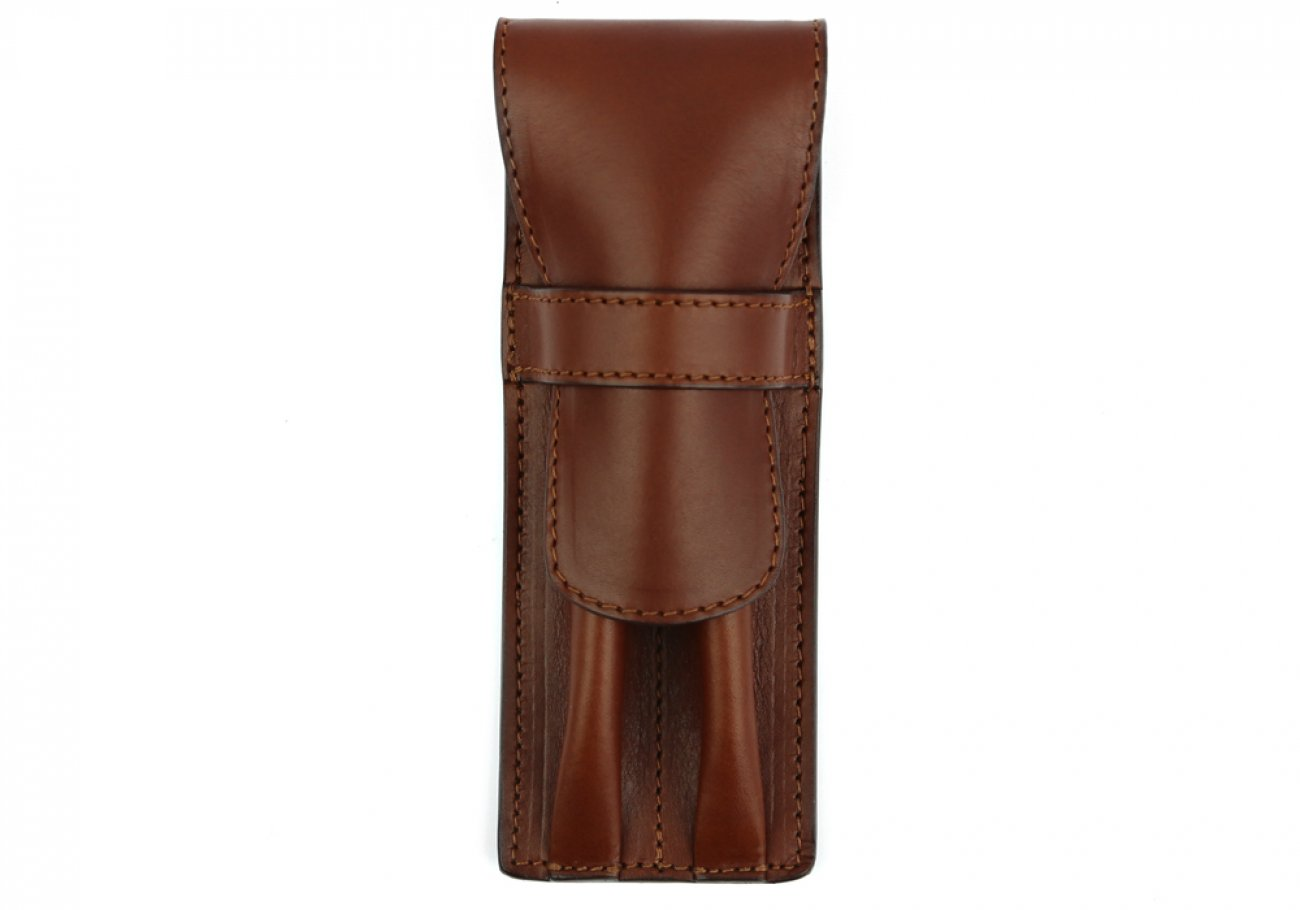 Chestnut Double Pen Case Frank Clegg 1