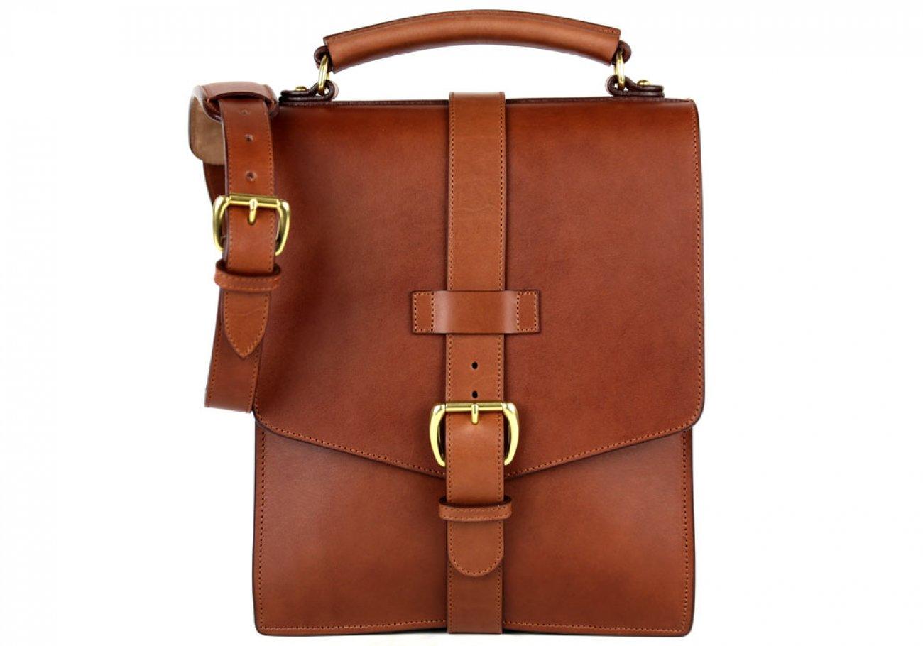 Chestnut Harness Belting Leather Buckle Satchel Frank Clegg Made In Usa 1 2
