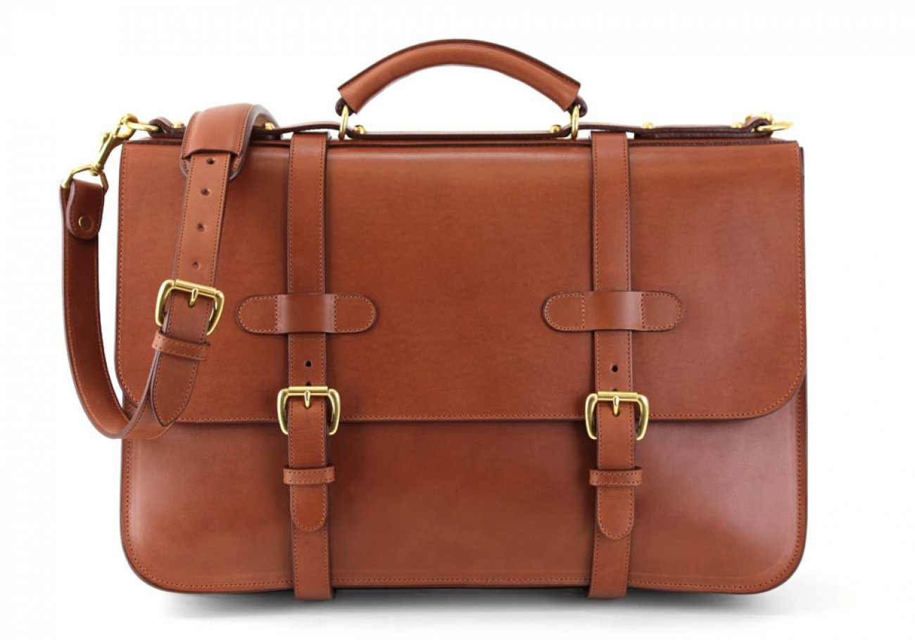 Chestnut Harness Belting Leather English Briefcase Frank Clegg Made In Usa 1
