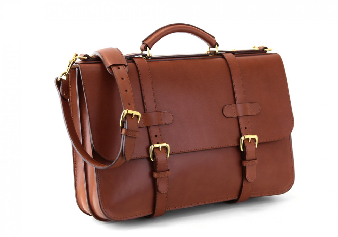 Chestnut Harness Belting Leather English Briefcase Frank Clegg Made In Usa 2